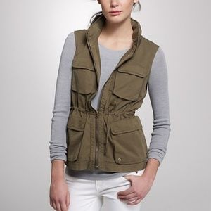 j. crew army green utility vest with hidden hood